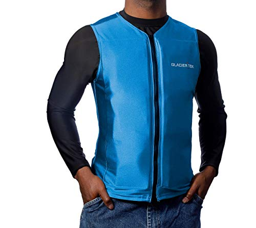 Glacier Tek Flex Vest Cool Vest with Nontoxic Cooling Packs Blue Large (Chest Size 39-41)