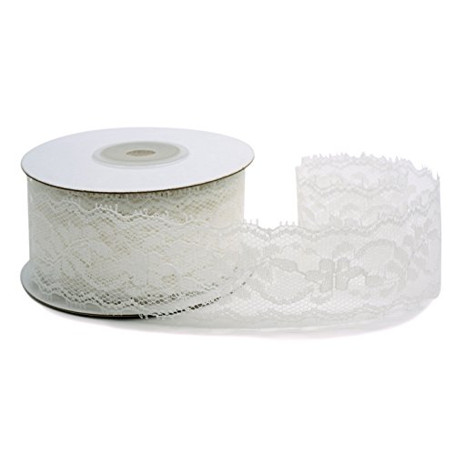 CT CRAFT LLC White Lace Trim Ribbon, Sewing Lace for Trimmings Works, Home Decoration, Gift Wrapping, DIY Crafts, Baby Shower, 1.5 Inch (35mm) X 10 Yards, White