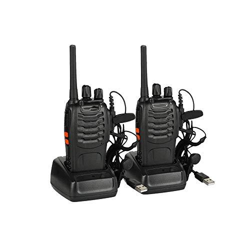 Z-Color BF-88E walkie talkies Recargable de Largo Alcance, Radio Manera portátil de Mano con Dos Auriculares y LED de Voz Ligera Pronto for Adultos Senderismo (2 Unidades)