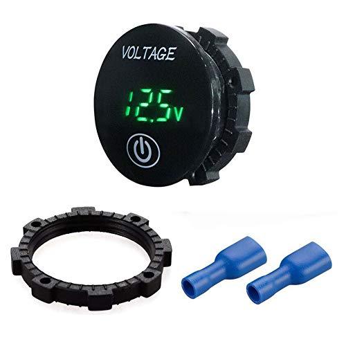 Mini wasserdichte Voltmeter, 2in1 LED Batteriekapazität Monitor Messgerät DC 12V-24V Universal für Auto/Motorrad/LKW - Grün