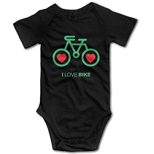 Mark Stars Ich Liebe Fahrrad Neugeborene Mädchen Jungen Kind Baby Strampler Kurzarm Säuglingskleinkindoverall(0-3M,Schwarz)