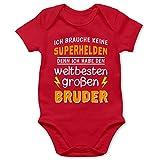 Shirtracer Geschwisterliebe Baby - Ich Habe den weltbesten großen Bruder - 3/6 Monate - Rot - Geschenk großer Bruder Geburt - BZ10 - Baby Body Kurzarm für Jungen und Mädchen