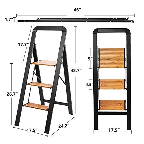 Delxo Aluminum 3 Step Ladder,2020 Upgrade Lightweight Folding Step Stool with Long Handle, Anti-Slip Sturdy Pedal, Classic Wood Look Without Wood Worry Step Ladder, Hold Up to 330LB