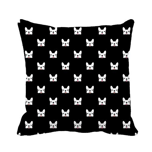 Awowee Throw Pillow Cover Frenchie French Bulldog Pattern Animal Black Canine Cartoon Character 20x20 Inches Pillowcase Home Decorative Square Pillow Case Cushion Cover