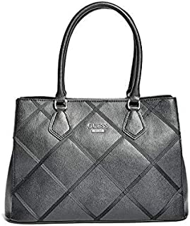 GUESS HARTZEL GROSGRAIN CARRYALL BAG-BLACK