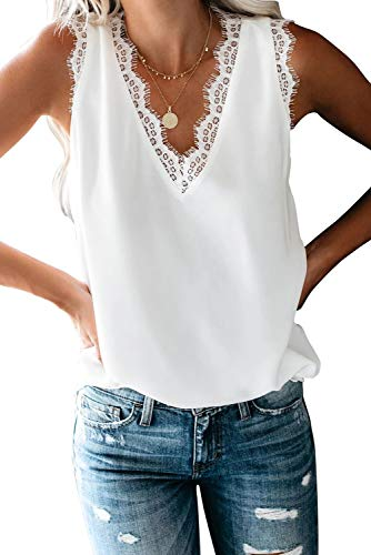 Women Summer Tank Tops Sexy V Neck Lace Trim Casual Loose Fit Shirts Blouses(White,M)