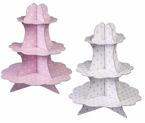 Unbekannt 2 Stück Cupcake/Muffin Ständer mit 3 Böden, Etagere 3 Stöckig aus Pappe mit Punkte Druck (Rosa und Weiß)