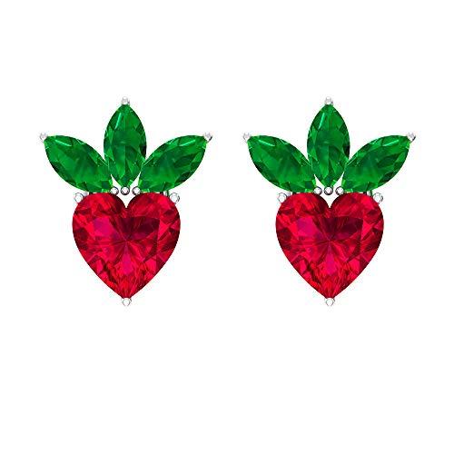 ¿Joyas Rosec? Pendientes de fresa con rubí de 1,4 quilates, 0,54 quilates, pendientes de esmeralda (calidad AAA), 18K Oro blanco, Par