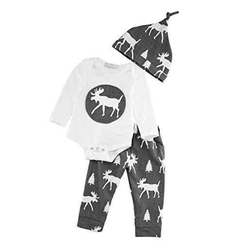 DBSUFV 3 unids / set camisas de algodón de cuello redondo de manga larga con diseño de moda para bebés y niñas + pantalones largos + sombreros patrón de ciervo de Navidad
