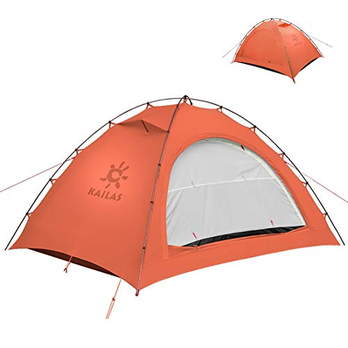 KAILAS Zenith II 1 and 2 Person Camping Tent Backpacking Lightweight 4 Season Waterproof Tents for Hiking Mountaineering - Easy Setup Orange
