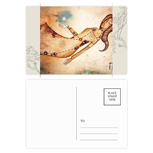 DIYthinker September Augustus Maagd sterrenbeeld Zodiac Bloem Postkaart Set Thanks Card Mailing Side 20 stks 5.7 inch x 3.8 inch Multi kleuren