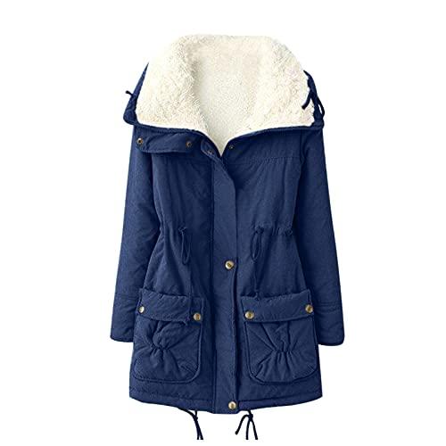 PMDKLSPQ Abrigo de invierno para mujer, de forro polar, cálido, de invierno, con capucha, elegante, parka, abrigo largo de invierno, azul oscuro, S