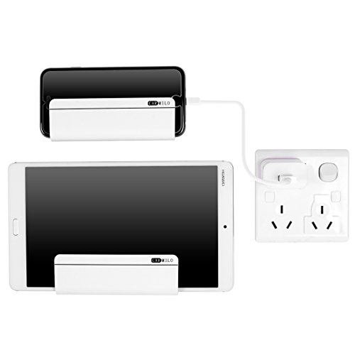 Carmilo Wall Mount Phone Holder : ABS Phone Charging Holder for iPhone, iPad, Tablet and Smartphone Pack of 2 (White)