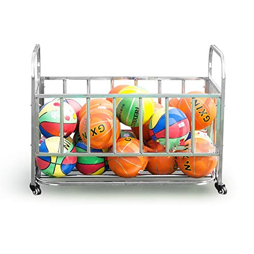Pelota Carro Almacenamiento de Deportes de Pelota Bola de los Deportes Jaula de Metal del balanceo Bola de los Deportes Estante (Plata) Carros portabalones (Color : Silver, Size : 85x63x110cm)