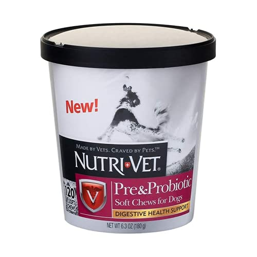 Nutri-Vet Pre and Probiotic Soft Chews for Dogs | Digestive Health Support Dog Probiotics | Tasty Alternative to Dog Probiotic Powder | 120 Soft Chews