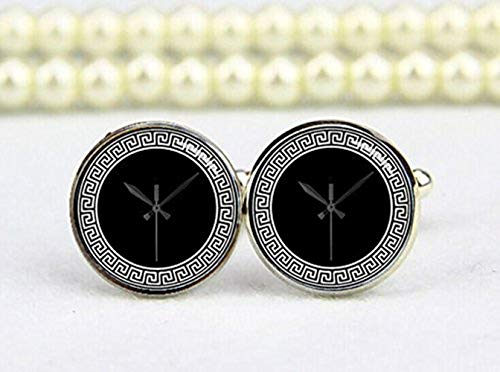 Griego Clave diseño reloj de pared Gemelos, personalizado Gemelos