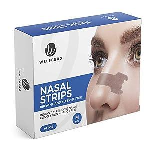 Welsberg 30x tiras nasales contra los ronquidos tiritas nasales antirronquidos, talla M