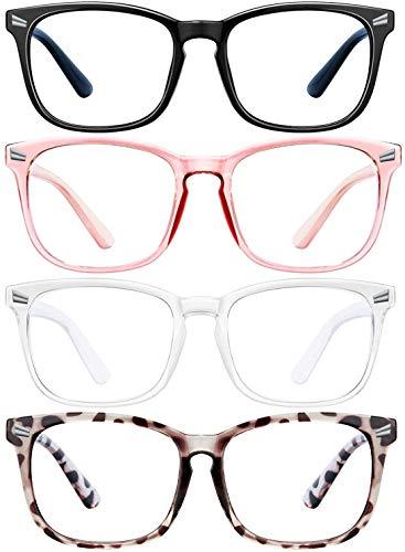 ENSARJOE 4 Pack Blue Light Blocking Glasses Square Reading/Gaming/TV/Phones Glasses for Women Men Anti Eyestrain & UV Glare