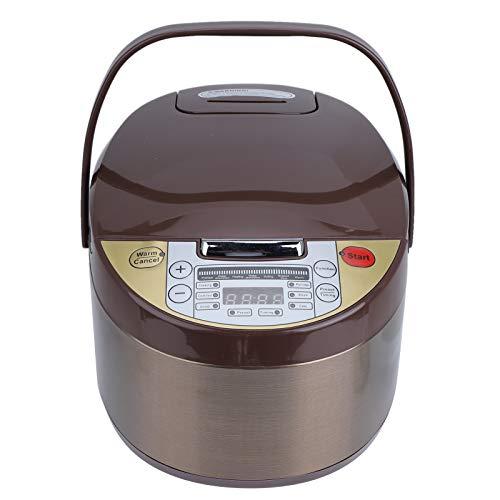 Cuociriso, 500W 3L Multicooker Cook Home in ABS, Supporta Prenotazione, Tempismo, Cottura, Porridge, Zuppa, Funzione di Riduzione dello Zucchero, 36 x 23 x 22 cm(Marrone)