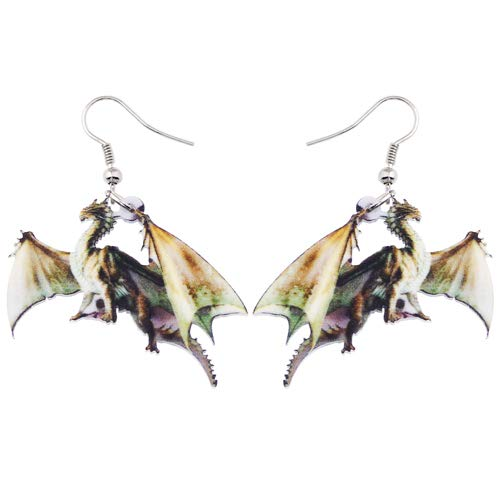 AdronQ® Acryl Muster Tropfen baumeln Lange große Drachen Ohrringe für Frauen Mode Mädchen Zubehör Tierschmuck