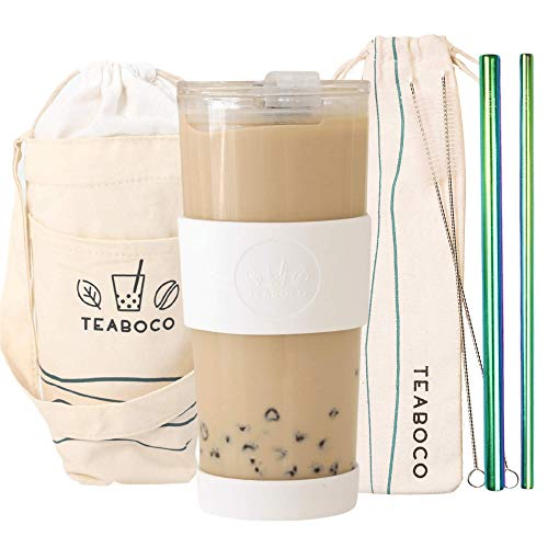 All-In-One Glass Reusable Boba Cup Gift Set / Smoothie Tumbler - 24oz BPA FREE Bottle with Leakproof Lid, Silicone Sleeve and Two Metal Straws for Water, Smoothies, Bubble Milk Tea and Coffee (White)