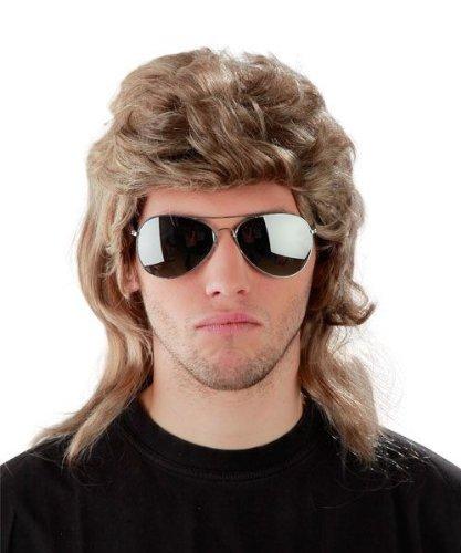 Spar-Set - Vokuhila Perücke + Sonnenbrille - Blonde Vokuhila Perücke für Herren und Pilotenbrille zu Fasching Karneval - Blond Fokuhila Proll Perücken Bad Taste Party
