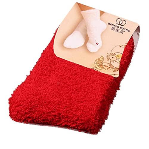 URIBAKY - Calzini da pavimento da donna, morbide, invernali, caldi, colore puro, corti, elastici, calze, in cotone, motivo multicolore, M, Taglia unica