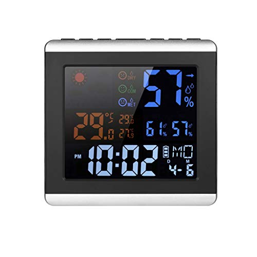 Wetterstationen LCD-Temperatur-Feuchtemessgerät Alarm Snooze-Funktion Innenwetterstation Digital Thermometer Hygrometer Uhr Wetterstationen