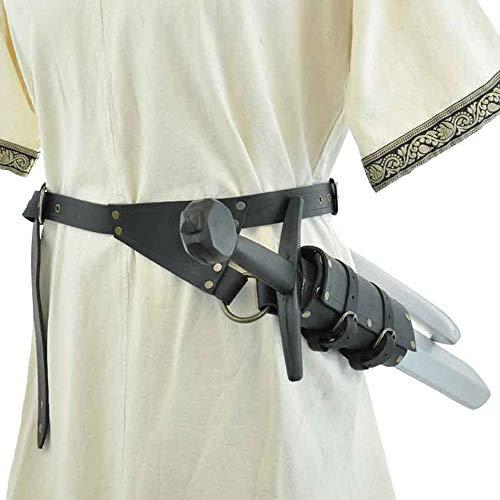 Soporte De Cinturón De Espada De Cuero Medieval Guerrero Espada Larga Y Corta Rana con Hebilla Ajustable Hombres Mujeres Funda De Espada Retro para Accesorios De Actuación En El Escenario,Negro