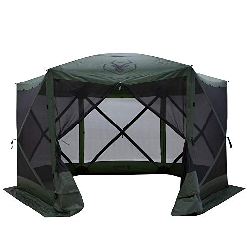 Gazelle GG600GR 8 Person 6 Sided Outdoor Portable Pop Up Water and UV Resistant Gazebo Screened Tent with Carry Bag and Stakes, Alpine Green