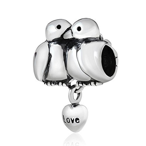 Soulbeads Jewelry Love Birds Charm 925 Sterling Silver Animal Charm Husband Wife Couple Charm for Bracelets (A)