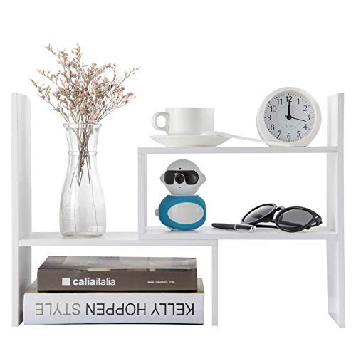 Home-Neat verstellbar Holz Desktop Lagerung Organizer Display Regal Rack, Counter Top Bücherregal, 16 L (extends to 32 W) X 15.75 H X 6.75 H (Weiß)