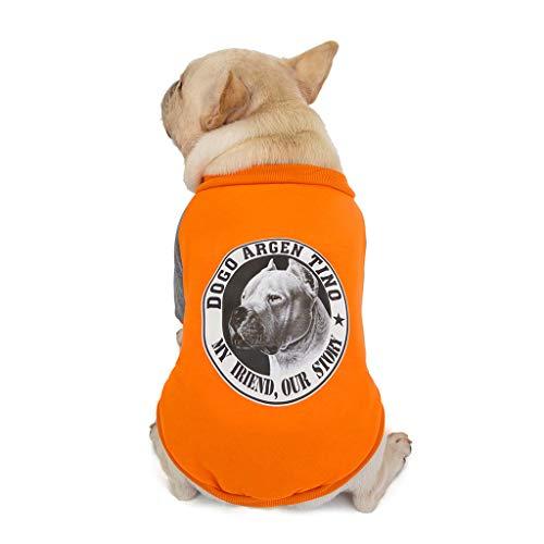 Yowablo Haustier-Hund im Herbst und im Winter Striped Hooded Two Legged Cotton Padded Jacket (XL,2- Orange)