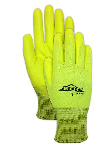 Magid Glove & Safety HV100 Magid ROC HV100 Hi-Viz Knit Gloves with Hi-Viz Micro-Foam Nitrile Palm Coating, 6