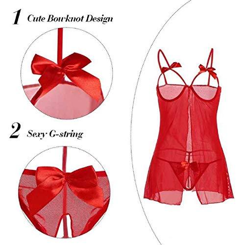 MALLORY WINSTON Women's Plain / Solid Open Net Bust Babydoll Nightwear Lingerie Set (Red, Free Size)