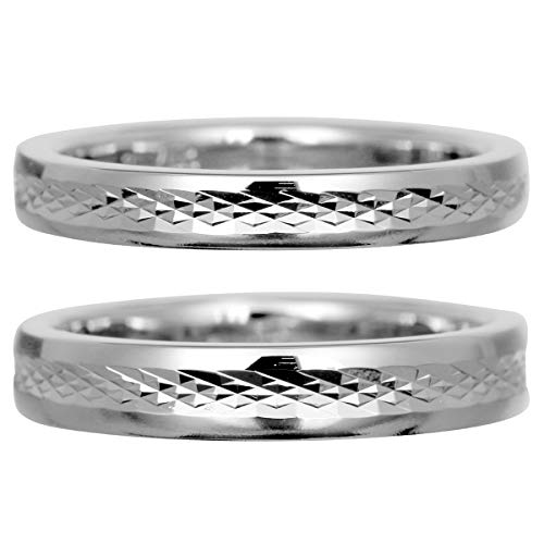 [ココカル]cococaru フルエタニティリング カットデザイン ペアリング 2本セット K10 ホワイトゴールド マリッジリング 結婚指輪 日本製 (レディースサイズ1号 メンズサイズ19号)
