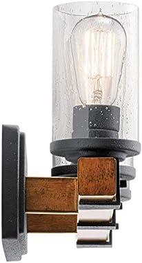 KICHLER 37418 3 Barrington Distressed Black and Wood Bathroom Vanity Light
