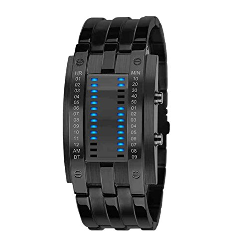 Orologio da polso da uomo, con luce a LED per la visualizzazione di data e ora, acciaio inox, antiurto, certificato secondo lo standard militare, alla moda, con circuito binario, Men Black