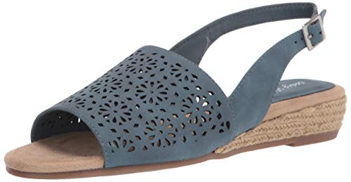 Easy Street womens Trudy Espadrille Wedge Sandal Denim 9 medium US