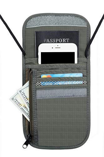 Travelambo Neck Wallet and Passport Holder Travel Wallet with RFID Blocking for Security (gray)