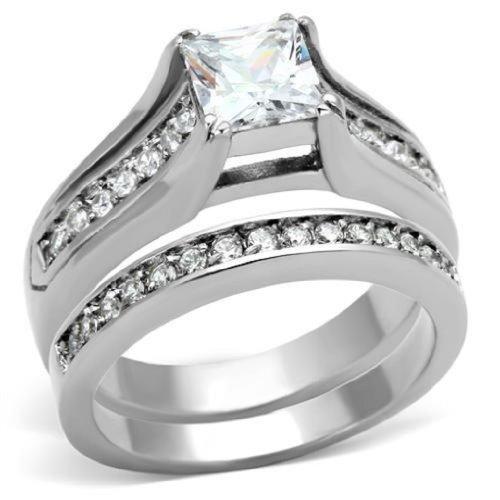 Doublebeez Jewelry Stainless Steel Princess Cut Cubic Zirconia Engagement...