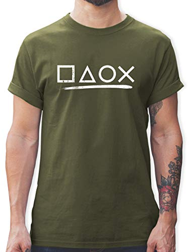 Nerds & Geeks - Gamer - XXL - Army Grün - Shirt zocker - L190 - Tshirt Herren und Männer T-Shirts
