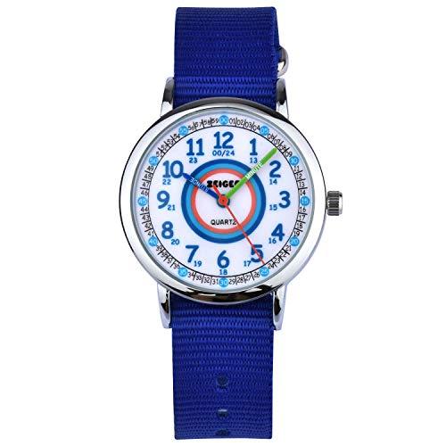 Reloj de Pulsera Nylon Infantil Niño Chica Chico Reloj Niña Educativo Nylon Azul Reloj para niña Reloj para niño Reloj Time Teacher Dial Fácil Lectura KW109-NEW