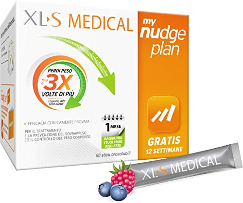 XL-S MEDICAL Direct Bustine Orosolubili, Trattamento Dimagrante per la Gestione del Peso e Riduzione dell`Appetito, My Nudge Plan App Incluso, 90 Sticks
