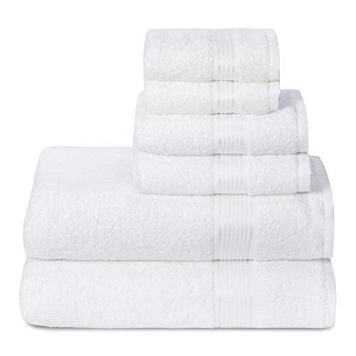 GLAMBURG Ultra Soft 6er-Pack Baumwoll-Handtuch-Set, enthält 2 übergroße Badetücher 70 x 140 cm, 2 Handtücher 40 x 60 cm und 2 Waschbetten 30 x 30 cm, Weiß