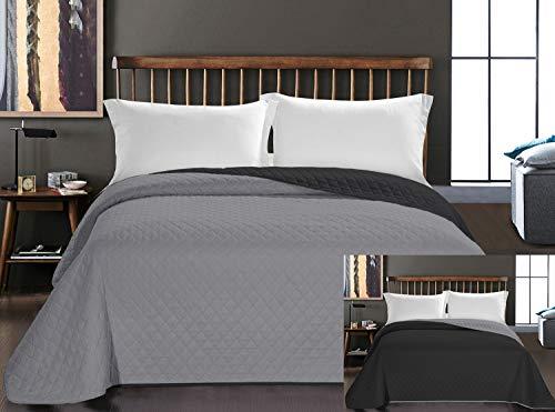 DecoKing Tagesdecke 200 x 220 cm Graphit anthrazit grau Silber Bettüberwurf zweiseitig pflegeleicht Axel