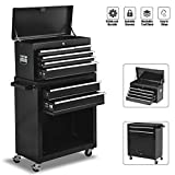 8-Drawer High Capacity Rolling Tool Chest, Removable Tool Box with Sliding Drawers,Keyed Locking System Tool Storage Cabinet on Wheels,Toolbox Organizer for Workshop Garage (Black)