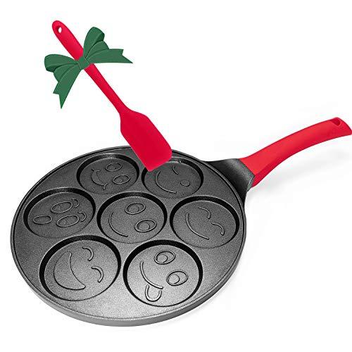 Emoji Pancake Pan, Smiley Face Pancake Mold Nonstick Grill Pan Mini Blini Pancakes with Non-slip Handle, 10 Inch