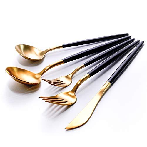 Homyhomi - Juego de cubiertos de acero inoxidable de lujo, incluye cuchillos, tenedores, cucharas, juego de cubiertos de comedor moderno con caja de regalo, juegos de cocina para...