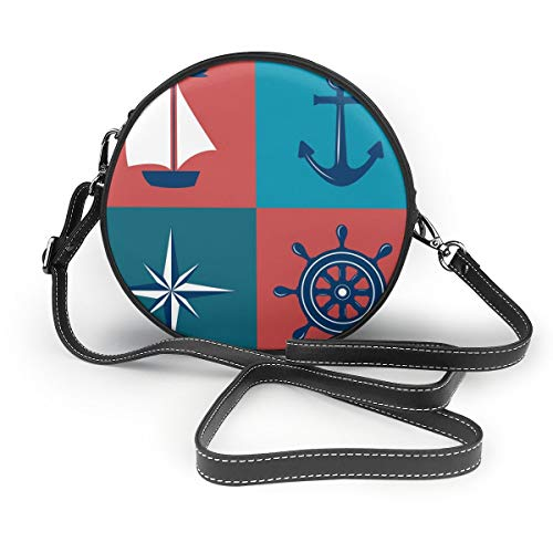 Wrution Vintage Blue Anchor Marine Nautical Adventure Navigation Boot Kompass Cruise Round Crossbody Zipper Schultertasche Soft Leather Circle Purses For Women Custom